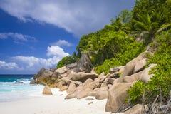 Tenger Anse-strand, Seychellen stock foto's
