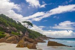 Tenger Anse-strand, Seychellen stock foto
