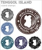 Tenggol-Insel-Stempelsammlung lizenzfreie abbildung