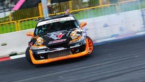 Tengku Djan drifting at Formula Drift 2010 royalty free stock images