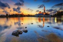 Tengku Tengah Zahara Mosque. The reflection of Tengku Tengah Zahara Mosque Stock Photos