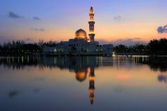 Tengku Tengah Zaharah Mosque. The Tengku Tengah Zaharah Mosque or the Floating Mosque is the first real floating mosque in Malaysia. It is situated in Kuala Ibai Stock Photo