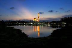 Tengku Tengah Zaharah Mosque or Floating Mosque. The Tengku Tengah Zaharah Mosque or the Floating Mosque is the first real floating mosque in Malaysia. It is Stock Photography