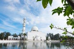 Tengku Tengah Zaharah Mosque, most iconic floating mosque located at Terengganu Malaysia. The beautiful nature and reflection of Tengku Tengah Zaharah Mosque Stock Photos