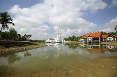 Tengku Tengah Zaharah Mosque in Terengganu. TERENGGANU, MALAYSIA – MARCH 2014: The Floating Mosque or Tengku Tengah Zaharah Mosque on March 27, 2014 at Kuala Royalty Free Stock Photography