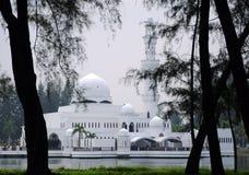 Tengku Tengah Zaharah Mosque in Terengganu. TERENGGANU, MALAYSIA – MARCH 2014: The Floating Mosque or Tengku Tengah Zaharah Mosque on March 27, 2014 at Kuala Stock Photography