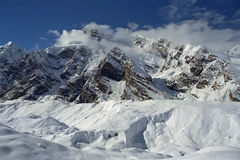 Tengri Tag ridge and South Inylchek Glacier on Tien Shan. Royalty Free Stock Photography