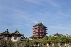 The Tengwang pavilion in Nanchang. Nanchang, Jiangxi province, China - September 2017 : Area in front of The Tengwang pavilion in nanchang, one of the four royalty free stock photo