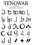 TENGWAR NAMARIE Alphabet 1 - Tolkien Script on white background Royalty Free Stock Image