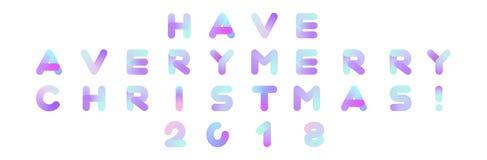 Tenha muito um texto do vetor do Feliz Natal 2018 Tipografia do Xmas Imagem de Stock Royalty Free