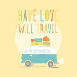 Tenha o amor viajará Camionete retro ilustração Fotografia de Stock Royalty Free