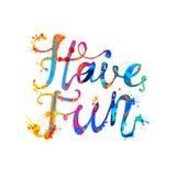 Tenha o divertimento! Pintura do respingo do arco-íris Foto de Stock