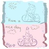Tenha um bom dia na bicicleta esboço Foto de Stock