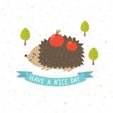 Tenha um cartão do dia agradável com um ouriço bonito Foto de Stock Royalty Free