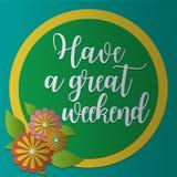 Tenha um grande cartão PaperCraft do fim de semana Imagem de Stock
