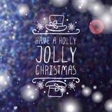 Tenha um Natal alegre do azevinho - elemento tipográfico ilustração stock