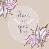 Tenha um projeto pastel floral do cartaz do quadro do dia agradável Foto de Stock Royalty Free