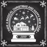 Tenha um selo do Natal mágico e do ano novo feliz, etiqueta ajustada com flocos de neve, globo da neve do Natal Vetor ilustração stock