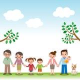 Tenir la famille heureuse de trois générations de mains illustration libre de droits