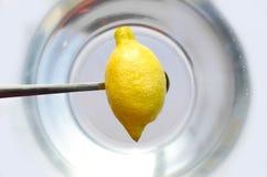 Tenir le citron sur la cuillère Image stock