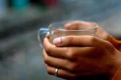 Tenir une tasse de th? par chemins de fer photographie stock libre de droits
