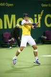 Tenis abierto de Qatar de los juegos de Rafael Nadal Foto de archivo libre de regalías