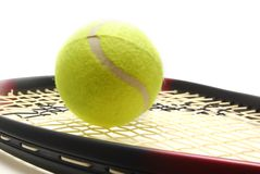 Tenis ball and racquet. Tennis ball and racquet on white background Stock Images