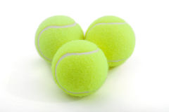 Tenis balls. Tenis ball on white background. lying by triangle Stock Photo