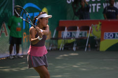 Tenis. Chinese tennis player to compete in ITF Womens circuit in the city of Solo, Central Java, Indonesia Stock Photos