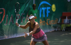 Tenis. Chinese tennis player to compete in ITF Womens circuit in the city of Solo, Central Java, Indonesia Stock Photo