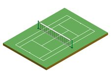 Tenis Cour - Clay Surface [Isometric]. Tennis court in isometric 3d view Royalty Free Stock Images