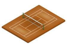 Tenis Cour - [de Isometrische] Oppervlakte van de Klei Stock Foto
