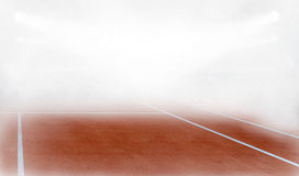 Tenis court in fog 3d render. Tenis court Stadium in fog and red ground 3d render Royalty Free Stock Photos