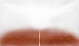 Tenis ground court in fog 3d render. Tenis court Stadium in fog and red ground 3d render Royalty Free Stock Photo