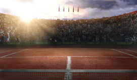 Tenis ground court grande arena 3d rendering. Tenis court Stadium red ground in sunset Royalty Free Stock Photography