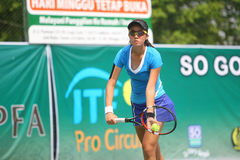 Tenis. Hongkong tennis players competed in the Womens Circuit Championships 2014 in the city of Solo, Central Java, Indonesia Stock Photo