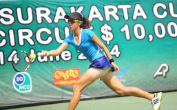 Tenis. Hongkong tennis players competed in the Womens Circuit Championships 2014 in the city of Solo, Central Java, Indonesia Stock Image