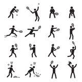 Tenis pozuje męskiego ikona set Fotografia Stock