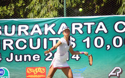 Tenis. Singapore tennis players competed in the championship Womans Circuit in the city of Solo, Central Java, Indonesia Royalty Free Stock Images