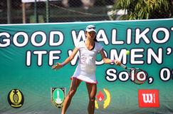 Tenis. Singapore tennis players competed in the championship Womans Circuit in the city of Solo, Central Java, Indonesia Stock Photo