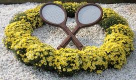 Tenisowa dekoracja przy Billie Cajgowego królewiątka tenisa Krajowym centrum zdjęcia royalty free