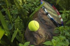 Tenisowa piłka na górze skały Pojęcie zielony i zdrowy Zdjęcia Stock