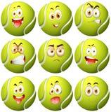 Tenisowa piłka z wyrazem twarzy ilustracja wektor