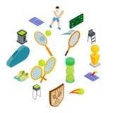 Tenisowe ikony ustawiać, isometric 3d styl Zdjęcia Stock