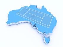 Tenisowy sąd na 3d Australia royalty ilustracja