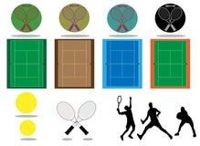 Tenisowy ustawiający z kantami i piłkami ilustracji