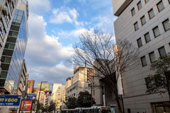 Tenjin是福冈市购物,用餐和娱乐区域在日本 免版税图库摄影