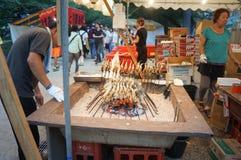 Tenjin Festival, Osaka, Japan. Grilled fish vender festival at Tenjin Festival, One of Japan`s top three festivals, Osaka, Japan, July 23rd, 2018 royalty free stock photography
