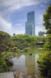Reflections on the water. japanese style garden. osaka. Tennōji Park is a park that has a botanical garden located in Chausuyama-cho, Tennoji-ku, Osaka, Japan stock image