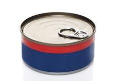 Tenn- can för fruktkonservprodukt Fotografering för Bildbyråer